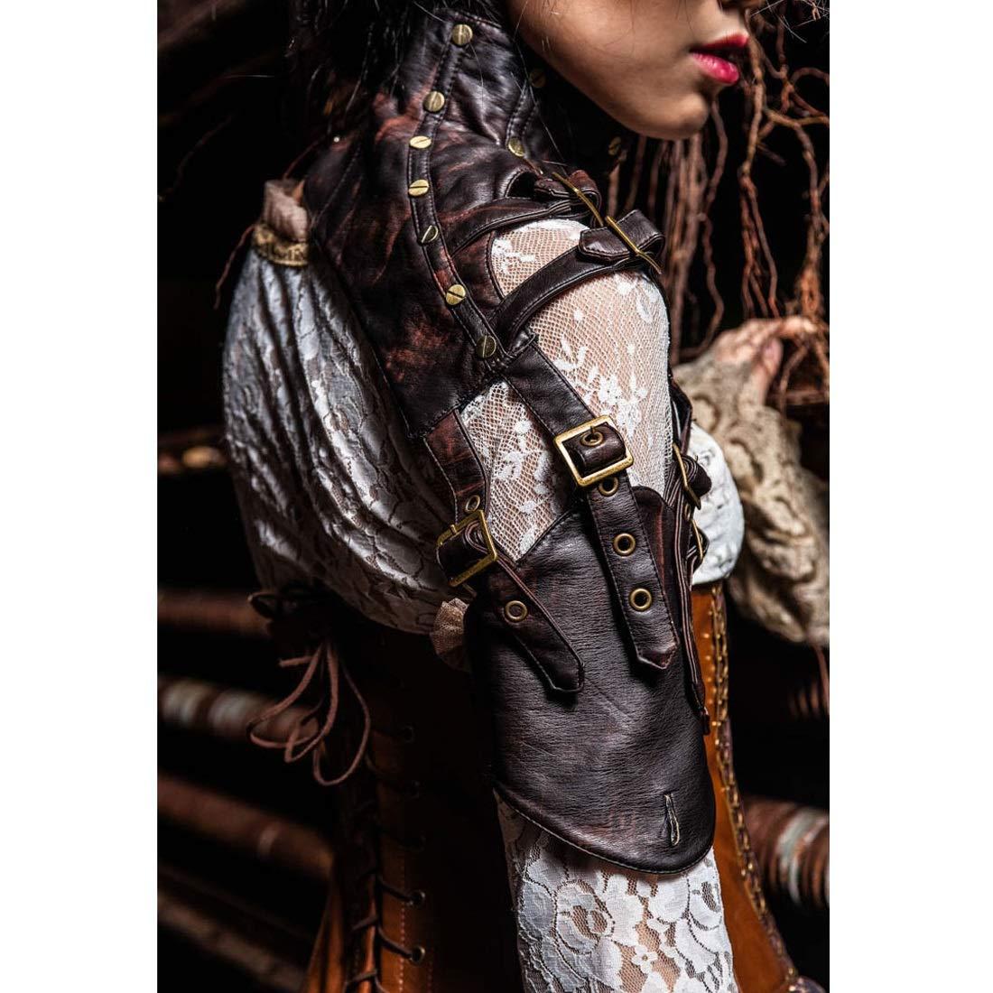 Hungrybubble Steampunk - Chaqueta de corseacute; corseacute; corseacute; con Hebillas de Hombro y armazoacute;n, marroacute;n, Small 4ee850
