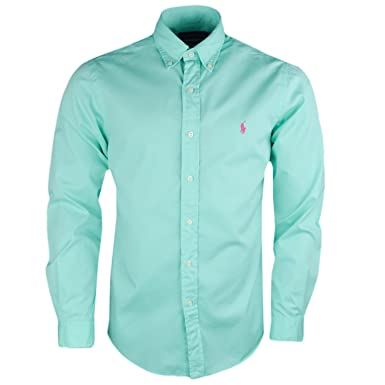 37850c30f032 Ralph Lauren Chemise Vert Pastel Logo Rose Slim fit pour Homme  Amazon.fr  Vêtements  et accessoires