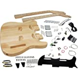 Solo Tele Style Double Neck DIY Guitar Kit, Basswood Body, Maple FB, DTCK-1
