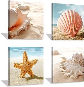 "Beach Seashell Canvas Artwork Painting: Coastal Seascape Conch Wall Art Print on Canvas for Bathroom (12"" x 12'' x 4 Panels)"