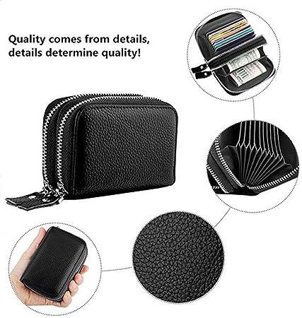 Porte Cartes,itPlus RFID Blocking Wallet Titulaire de Carte de crédit Portefeuilles de Carte de crédit en Cuir véritable avec 13 Machines à sous Noir