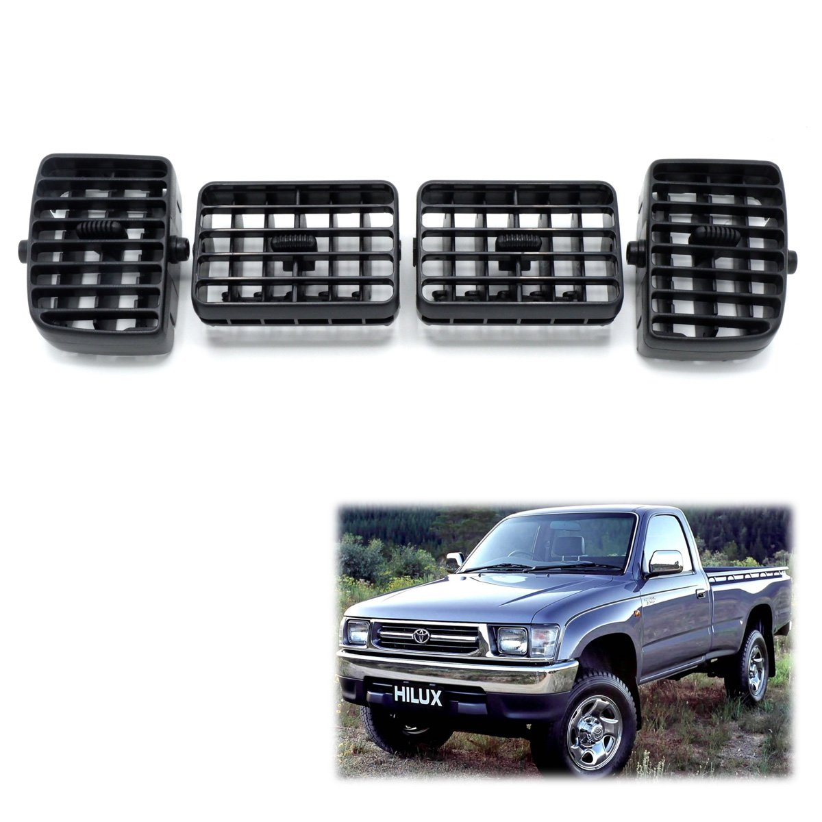 Powerwarauto Grille Air Condition Ventilator Grey For Toyota Hilux Tiger LN145 2 Doors 4 Doors 1997 05