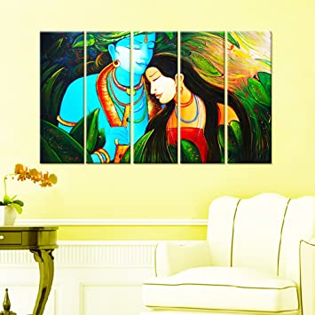Amazon.com: Wall Mantra 5 Panel Radha Krishna Wall Art Canvas Photo ...