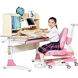[新品首发]心家宜-手摇同步升降儿童学习桌椅套装 书桌 学习桌 100CM L型黄金比例分区设计学生桌  多功能写字台 公主粉 M112_M209R-G (供应商直送)