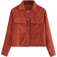 Milumia Women's Dual Pocket Corduroy Solid Jacket Single Breasted Coat Outer Tops
