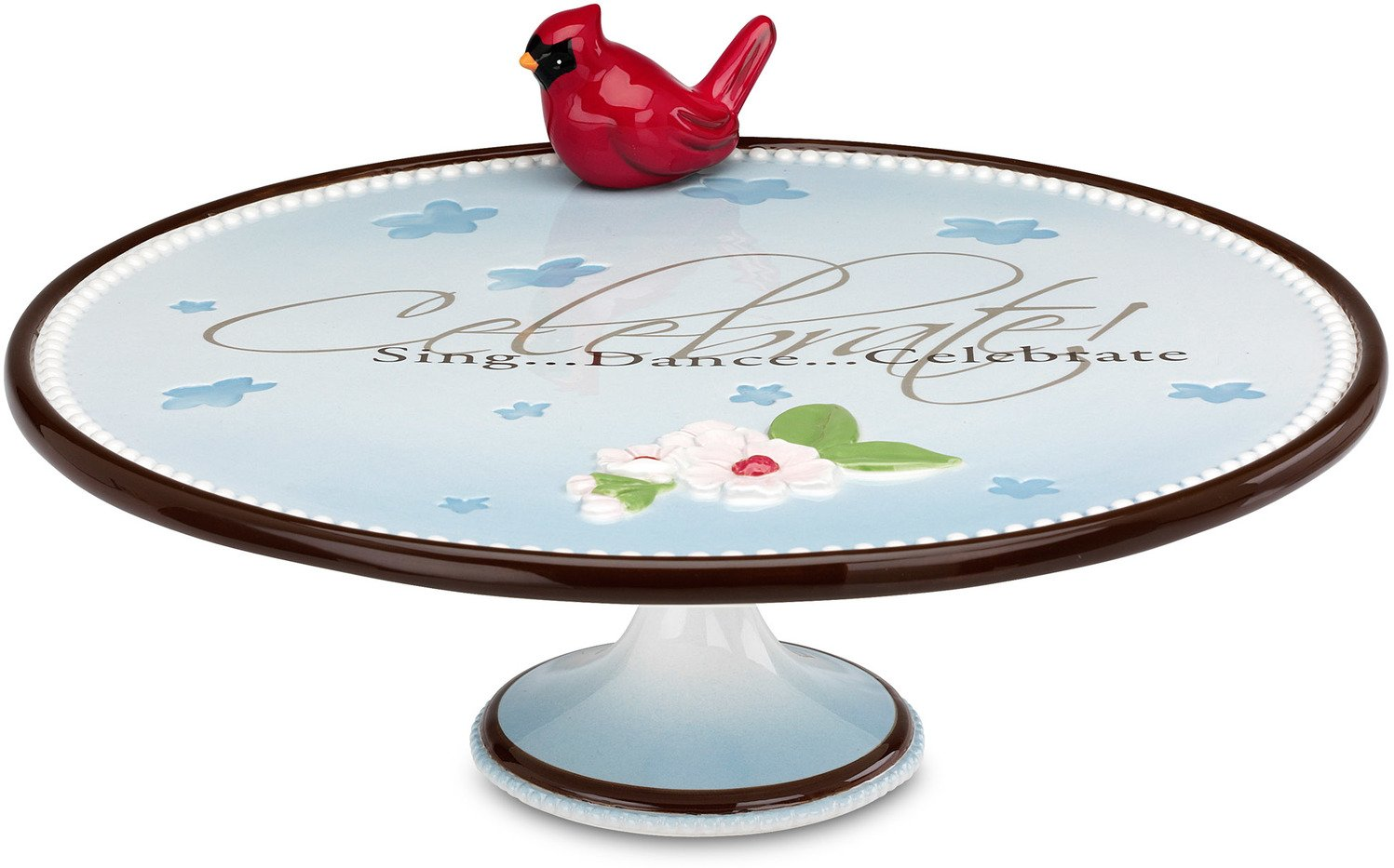 Peace, Love and Birds by Pavilion Celebrate Sentiment Cake Stand with Magnet Cardinal Bird, 12 by 4-1/2-Inch
