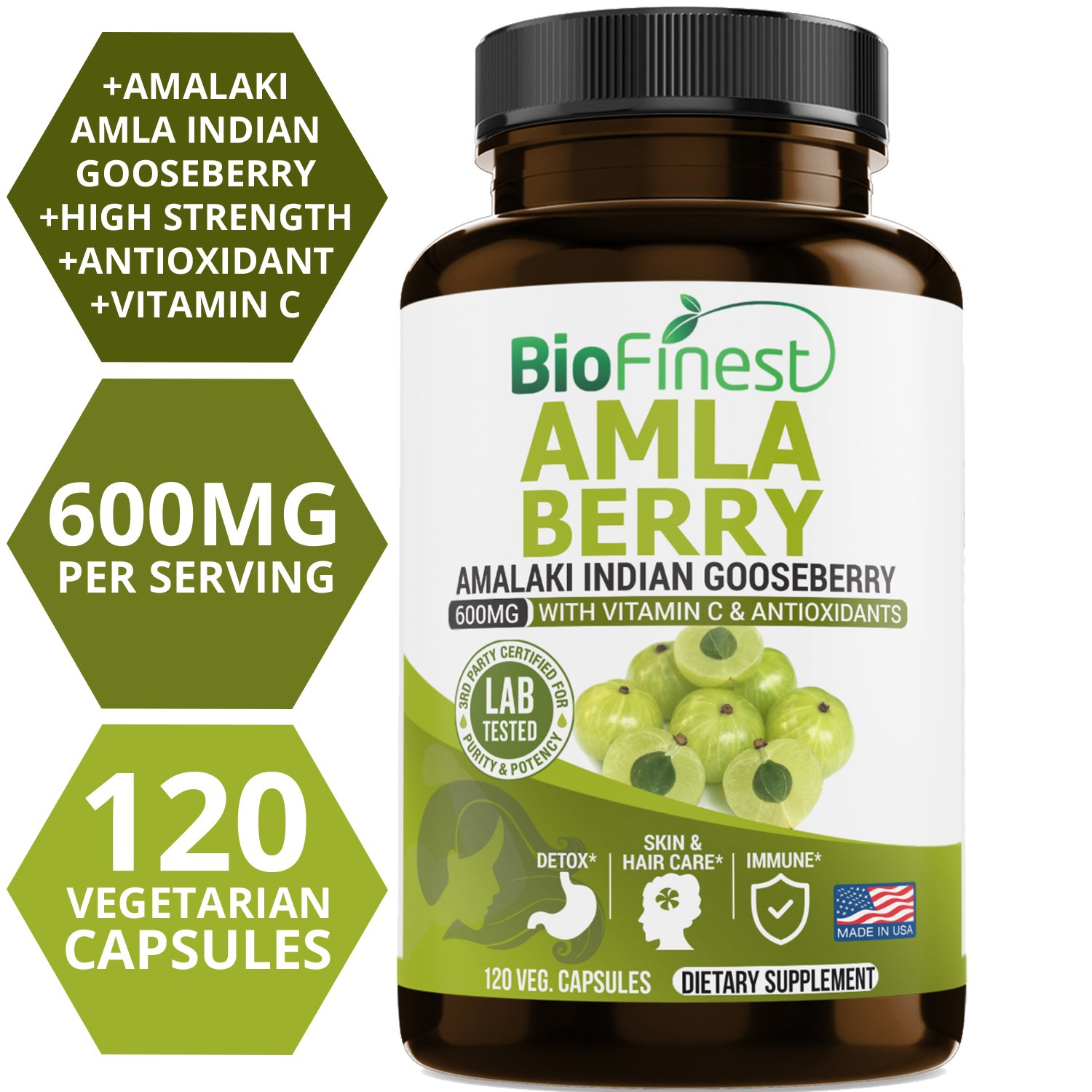 Biofinest Amla Berry (Indian Gooseberry) Capsules - with Vitamin C and Antioxidants - Potent