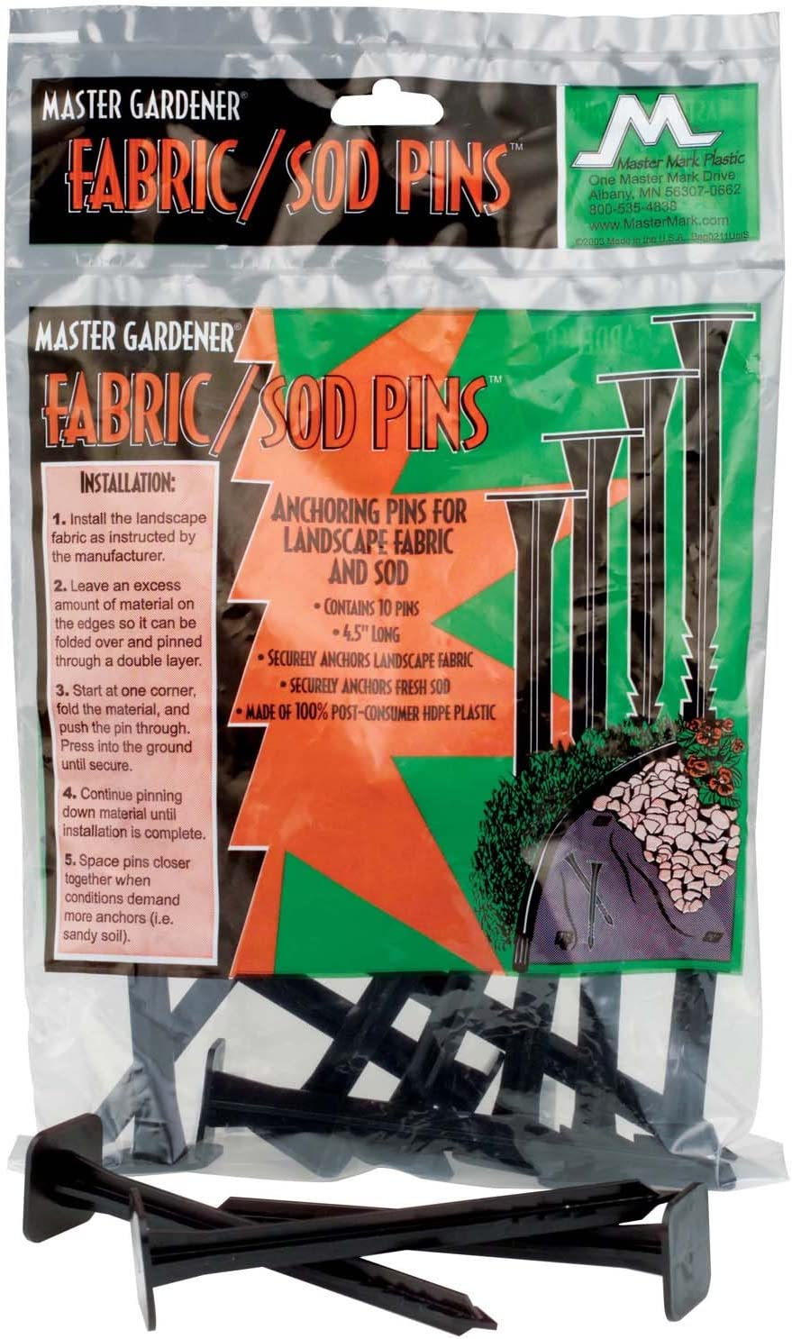 Amazon Com Master Mark Plastics 11110 Fabric And Sod Pins 4 5 Inch 10 Pack Garden Stakes Garden Outdoor