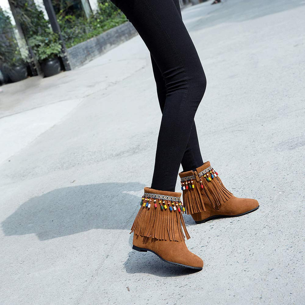 MYXUA Damenstiefel Böhmische Stiefeletten Mit Keilabsatz Tassel Tassel Tassel Zipper Large Größe Stiefelies Warm Casual Stiefel 40ad3f