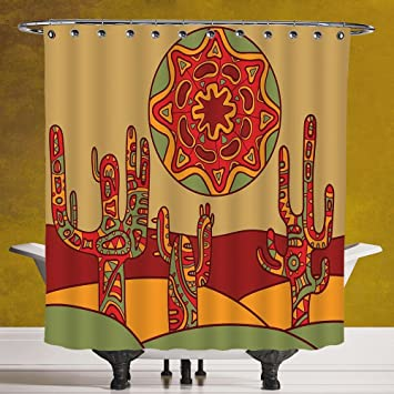 Amazon.com: Funky Shower Curtain 3.0 [Cactus,Print Cartoon like ...