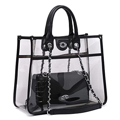 dedd5fdfd988 Women Clear Transparent Handbag PVC Jelly Candy Beach Tote Ladie Shoulder  Bag Top Handle Purse with Chain Cross body Bag Set  Amazon.co.uk  Shoes    Bags