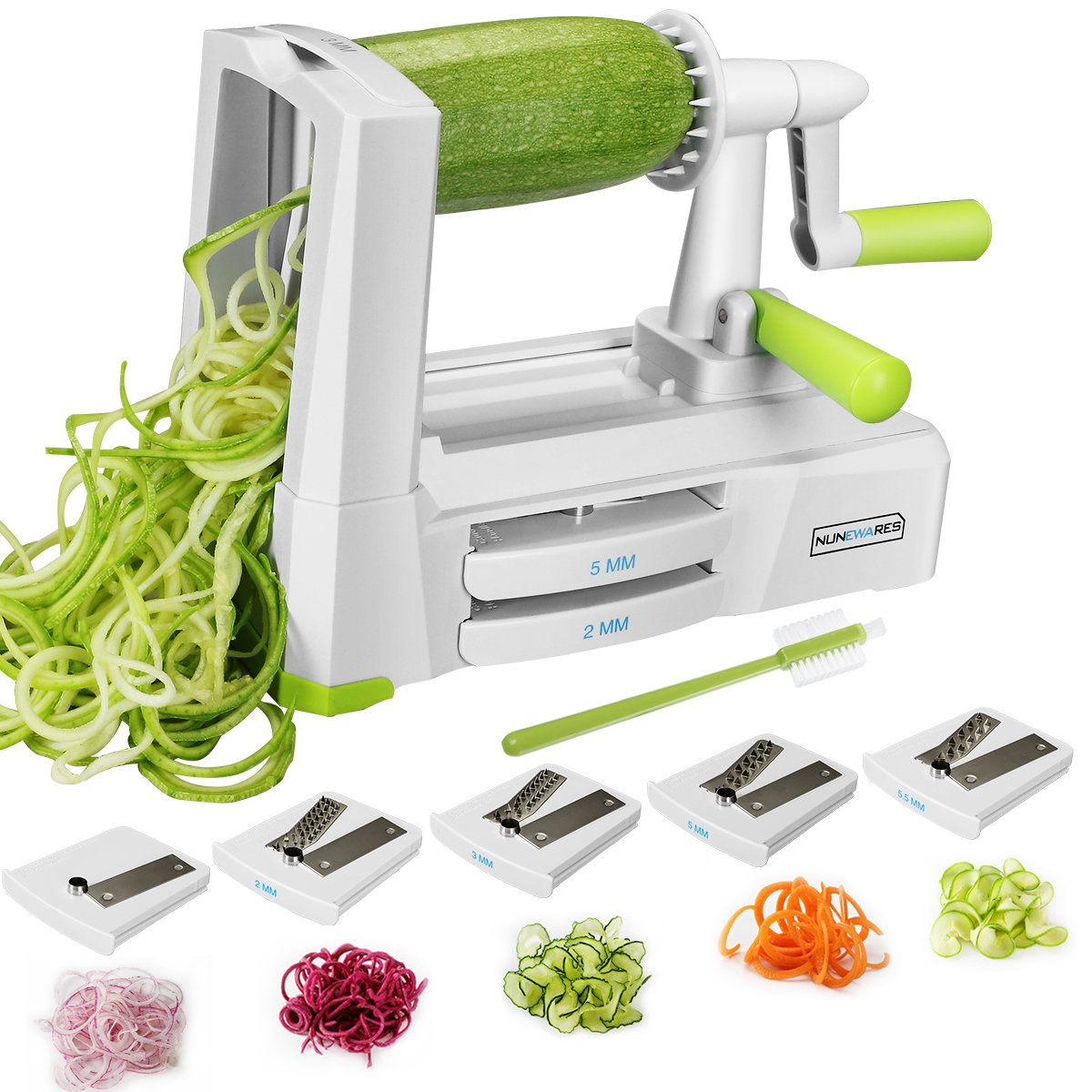 NUNEWARES 5-Blade Spiralizer Vegetable Spiral Slicer