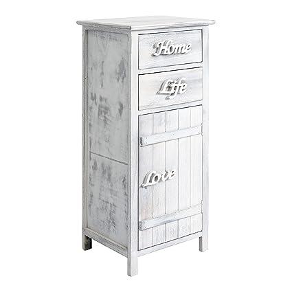 Rebecca Mobili RE4575 - Armario para baño, 1 Puerta con 2 cajones, Madera, Estilo Shabby, Blanco, 84 x 37 x 31 cm