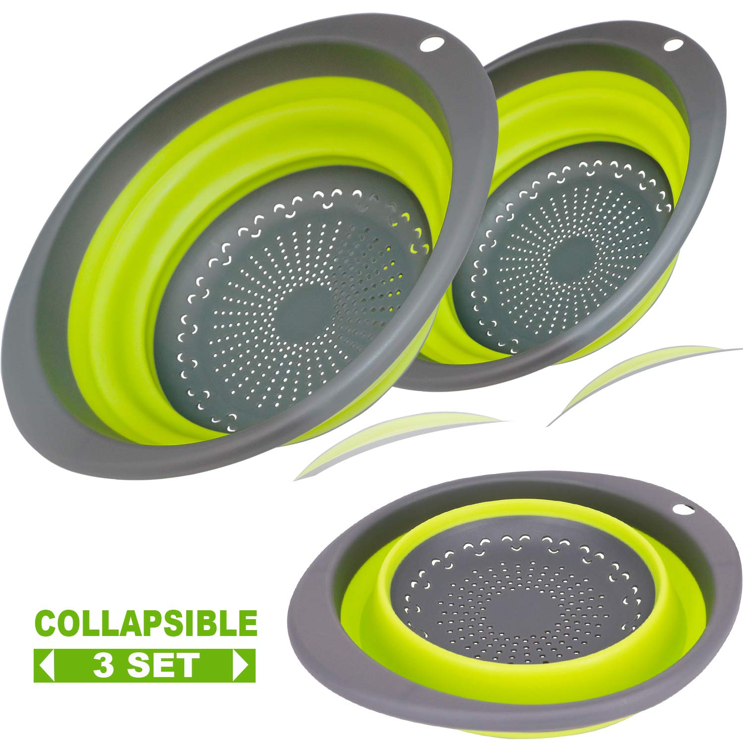 【2019 New Version】3-Packs Green Oval Collapsible Colander Set, 2 pcs 4 Quart and 1 pcs 2 Quart - Foldable BPA Free Silicone Kitchen Strainer Kit Perfect for Draining Pasta, Vegetable and fruit