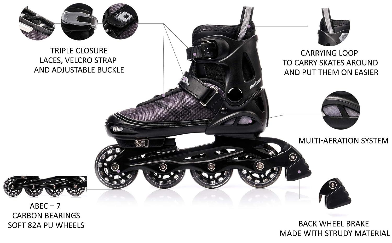 S Meteor Inline Skates Childrens Kids Inliners Roller Skates Roller Blades ABEC 7 Carbon Childrens Inline Skates Adjustable Shoe Size AREA  Black EU 30-33
