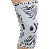 Genouillère protège-genou (1 Unité) Neotech Care en fibre de bambou - Élastique et respirante - Couleur grise (Taille M)