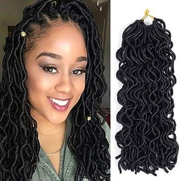 Dingxiu 3Packs Deal 20 Wavy Faux Locs Crochet Braids Hair Extensions Dreadlocks