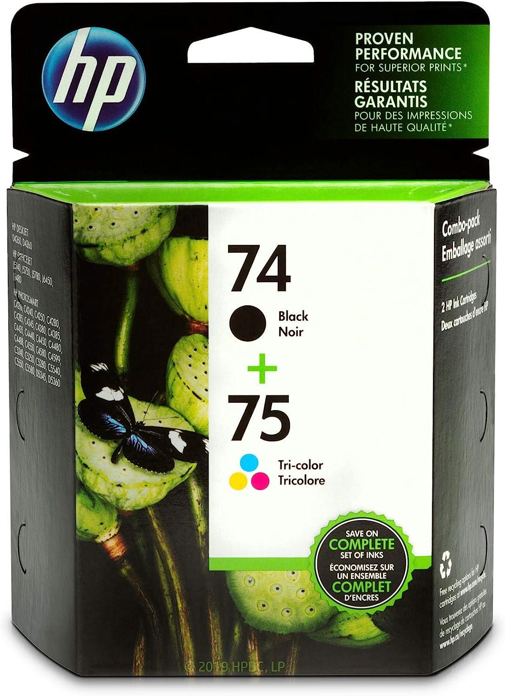 HP 74 and HP 75   2 Ink Cartridges   Black, Tri-color   Works with HP DeskJet D4260, HP OfficeJet J5788, J6480, HP Photosmart C4300 series, C4400 series, C4500 series, C5500 series   CB335WN, CB337WN