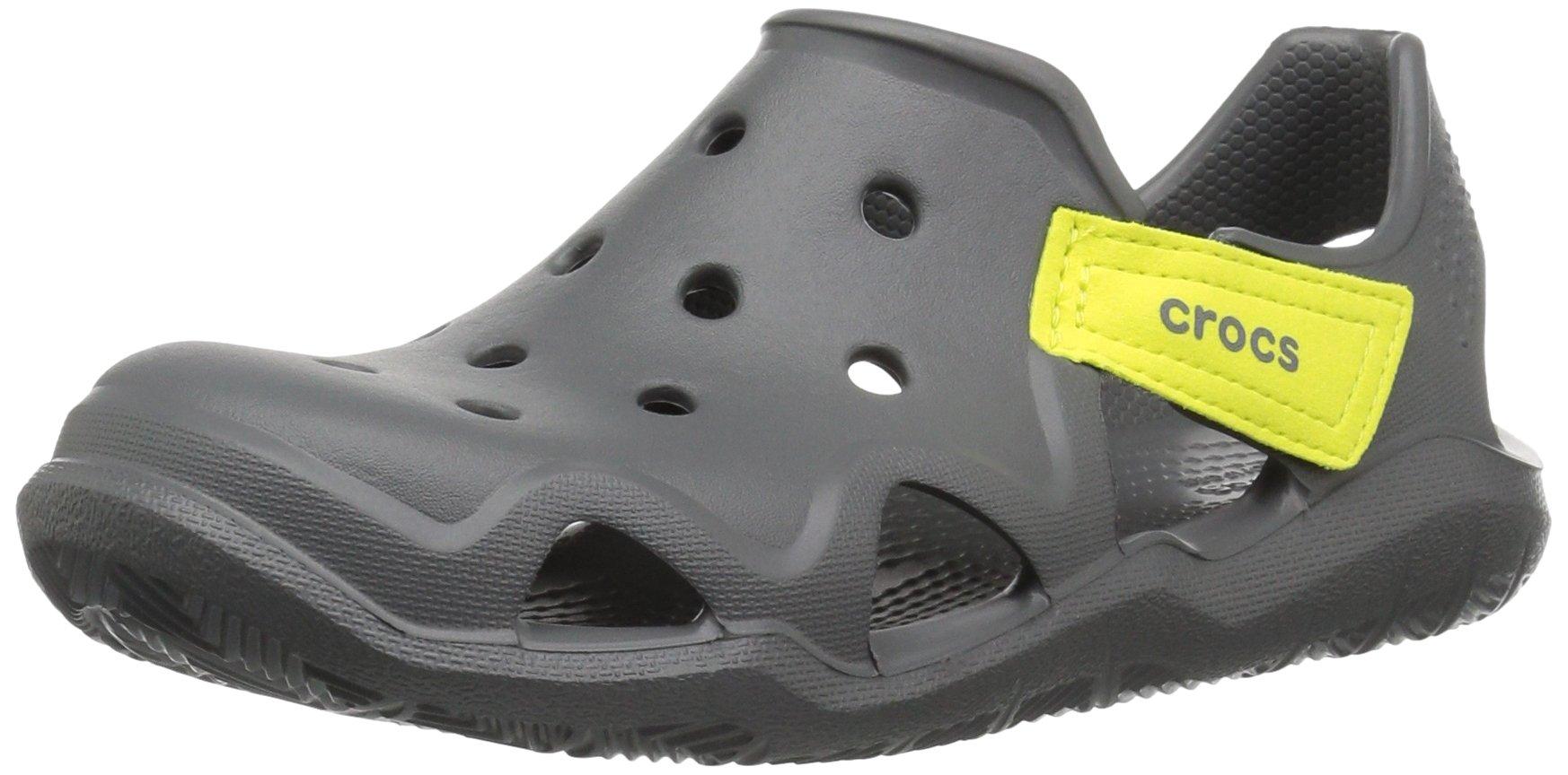 Crocs Unisex-Kids Swiftwater Wave Flat Sandal, Slate Grey/Tennis Ball Green, 13 M US Little Kid