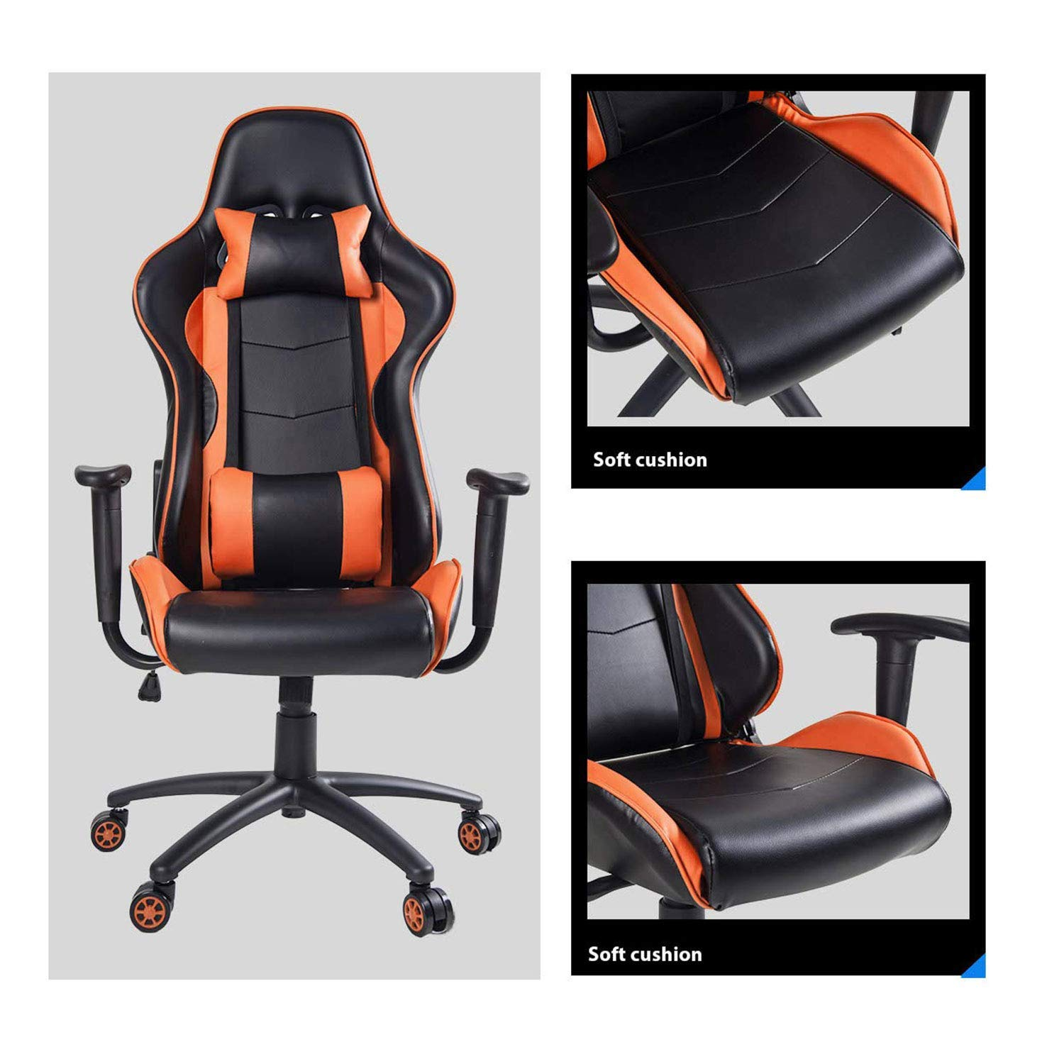 MOOSENG High Back Gaming Computer Desk Adjustable Swivel Office Racing Chair with Lumbar Support and Headrest,Orange