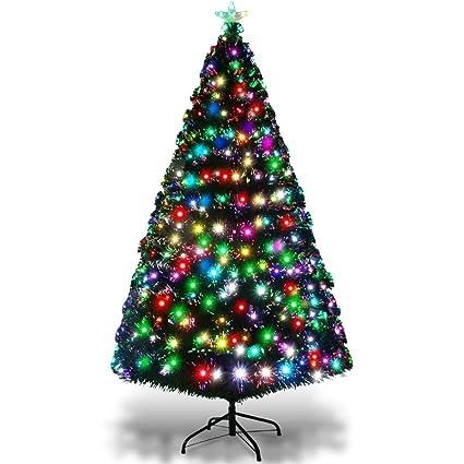 quality design e05ec 8aebd Goplus 5FT Pre-Lit Artificial Christmas Tree Optical Fiber 8 Flash Modes W/  175 LED Lights & Metal Stand
