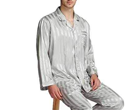 Hufong Mens Silk Satin Pajamas Set Pajama Pyjamas Set Sleepwear Set  Loungewear Plus Striped Grey S af57ff21f