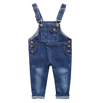 De feuilles Baby Jungen Mädchen Jeans Latzhose Blau Jeans Hosenträger Jeanshose Jumpsuit Hosen Overall Strampler