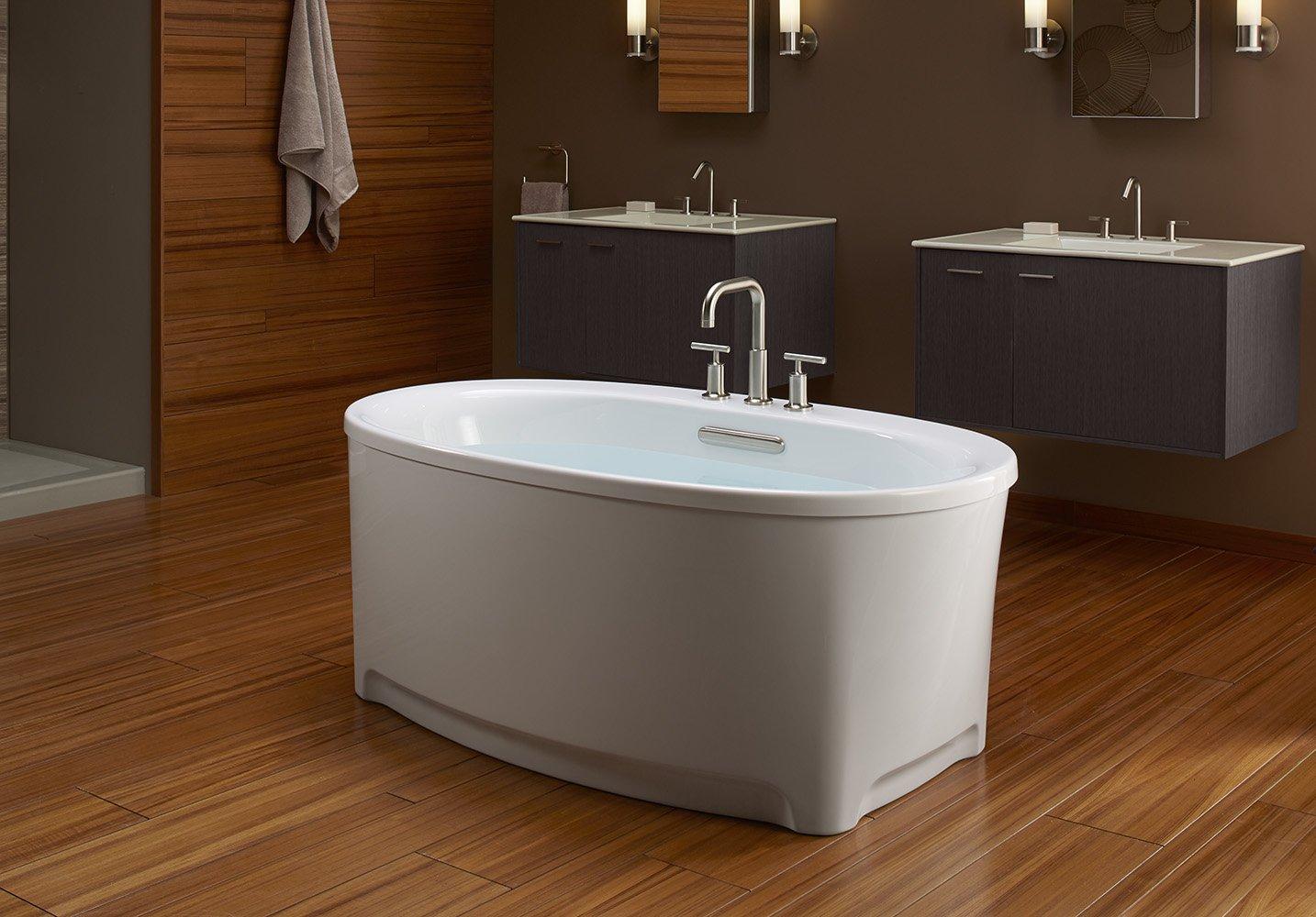 KOHLER K-5701-0 Underscore Oval Freestanding Bath with Center Drain ...
