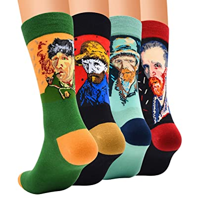 MYVOGOE Novelty Funny Crazy Animal Crew Socks Colorful Cool Funky Dress Socks For Men (C6-4Pairs) at Men's Clothing store