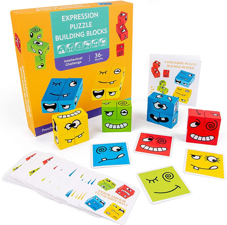 IMMEK Bebes Juguetes Puzzles Building Emoji Cubes Niño y Niña de Madera Puzzle Expresión Rompecabezas Set Montessori Educativos Regalos para 3 4 5 Años 4 Grupos Juegos de Caras Divertidas (50 Cartas)