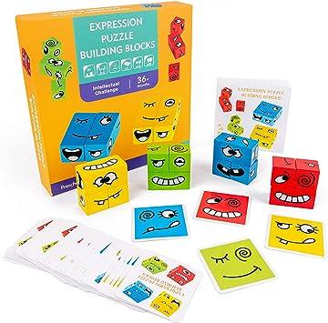 IMMEK Bebes Juguetes Puzzles Building Emoji Cubes Niño y Niña de Madera Puzzle Expresión Rompecabezas Set Montessori Educativos Regalos para 3 4 5 Años 4 Grupos Juegos de Caras Divertidas (50 Cartas):