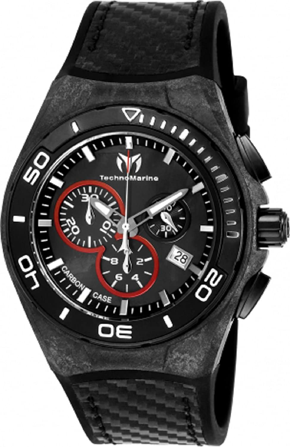 Technomarine Men's TM-116004 Black Carbon Swiss Chronograph