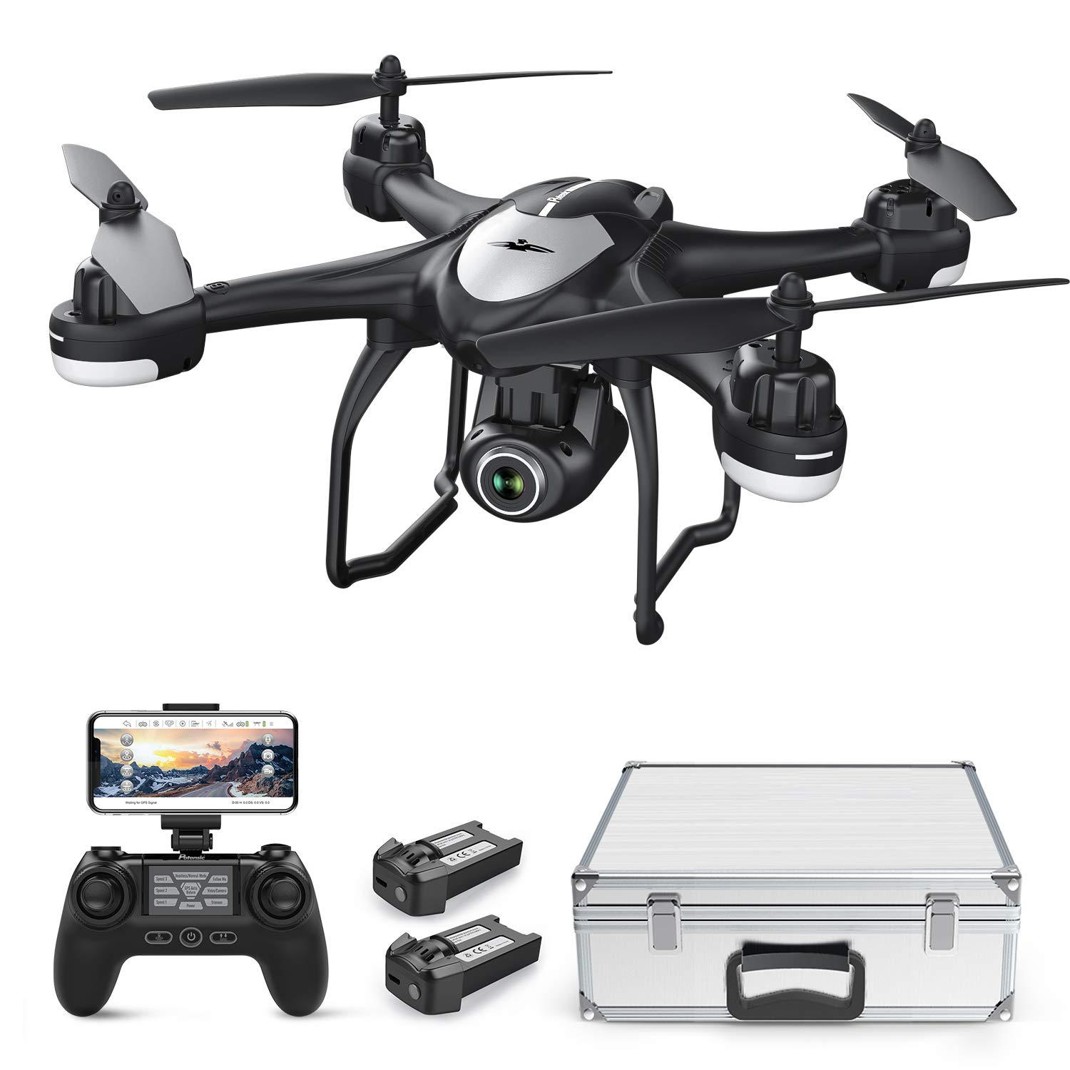 Drone with 1080P HD Camera, Potensic T18 GPS FPV RC Quadcopter with Adjustable Wide-Angle WiFi Camera, Auto Return Home, Altitude Hold, Follow Me, 2 Batteries and Aluminum Carrying Case by Potensic
