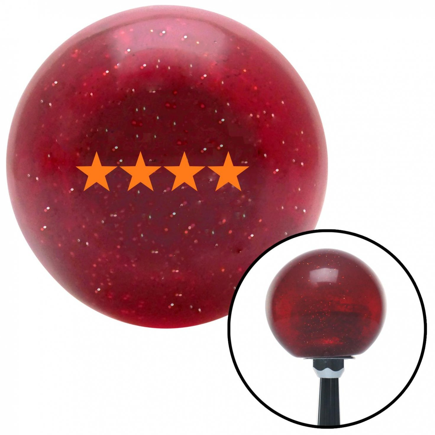 Orange Officer 10 - General American Shifter 58396 Red Metal Flake Shift Knob with 16mm x 1.5 Insert