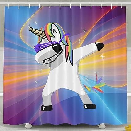 Dabbing Unicorn Bath Shower Curtain Fabric Bathroom Set With Hooks