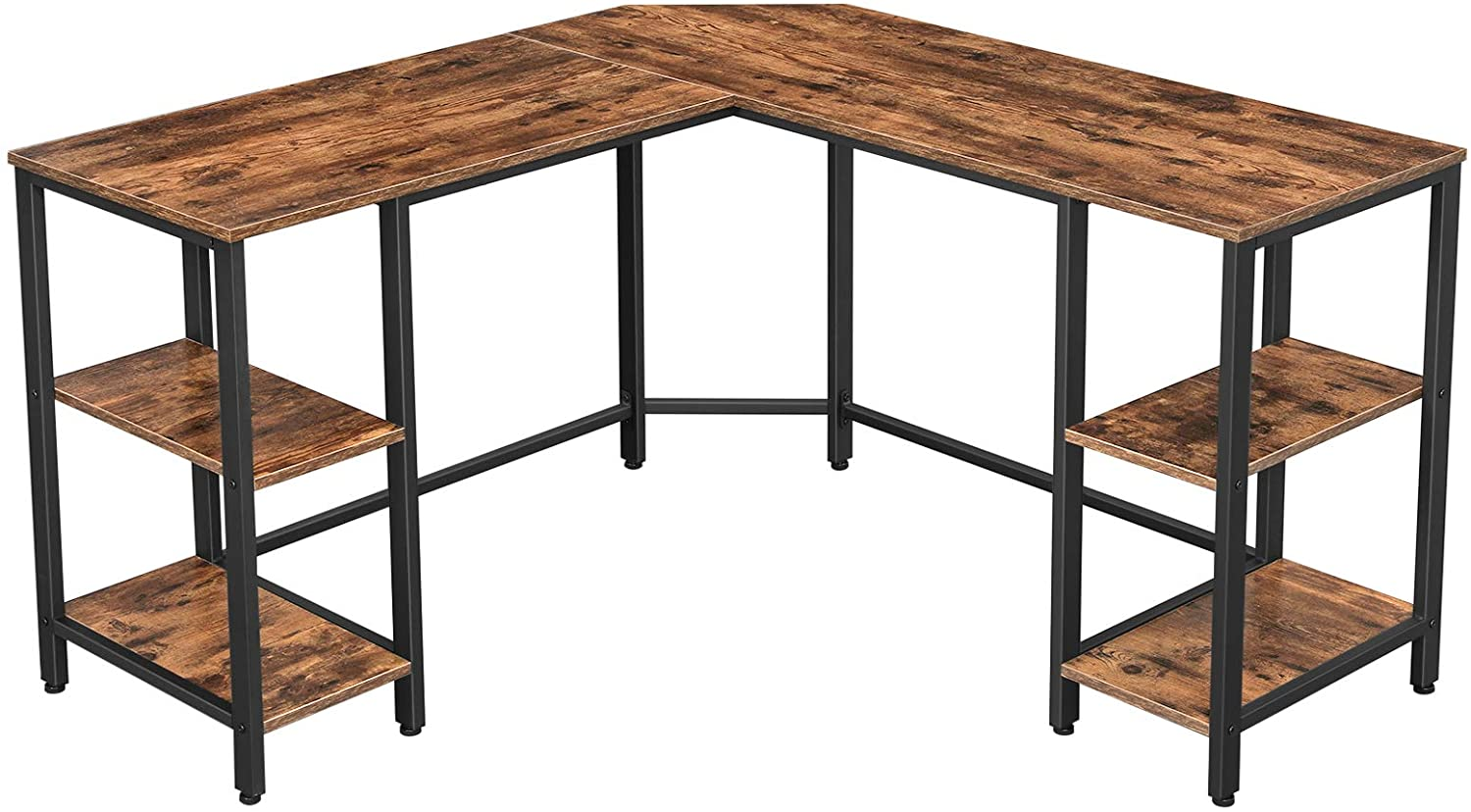 VASAGLE ALINRU L-Shaped Computer Desk, Corner Desk with Storage, 4 Shelves, Spacious Table Top, for Home Office, Industrial Style, Rustic Brown and Black ULWD76X