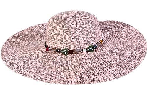 Westeng Sombrero, sombrero femenino de la playa verano,Sombrero de playa al aire libre, gran sombrero de ala ancha sol sombrero de ala plana,1pc