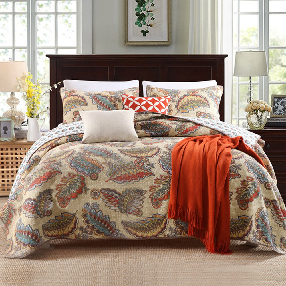 Leaves Flower Print Cotton Quilt Bedspread Set Queen Vintage Floral Quilt Coverlet Set 3 Piece Luxury Bedding Comforter Quilt Set with 2 Pillow Shams Full Queen Size Quilt Blanket for All Seasons
