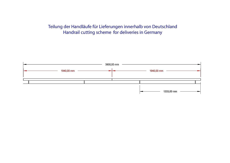 jusqua 6 metre embout dro/îte diametre 42,4mm AISI 304 avec des supports soud/és poli Main Courante en acier inoxydable V2A