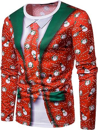 YCHENG Camiseta Navidad Hombre Moda Mangas Largas Casual Santa y Nieve Alces Tops: Amazon.es: Ropa y accesorios