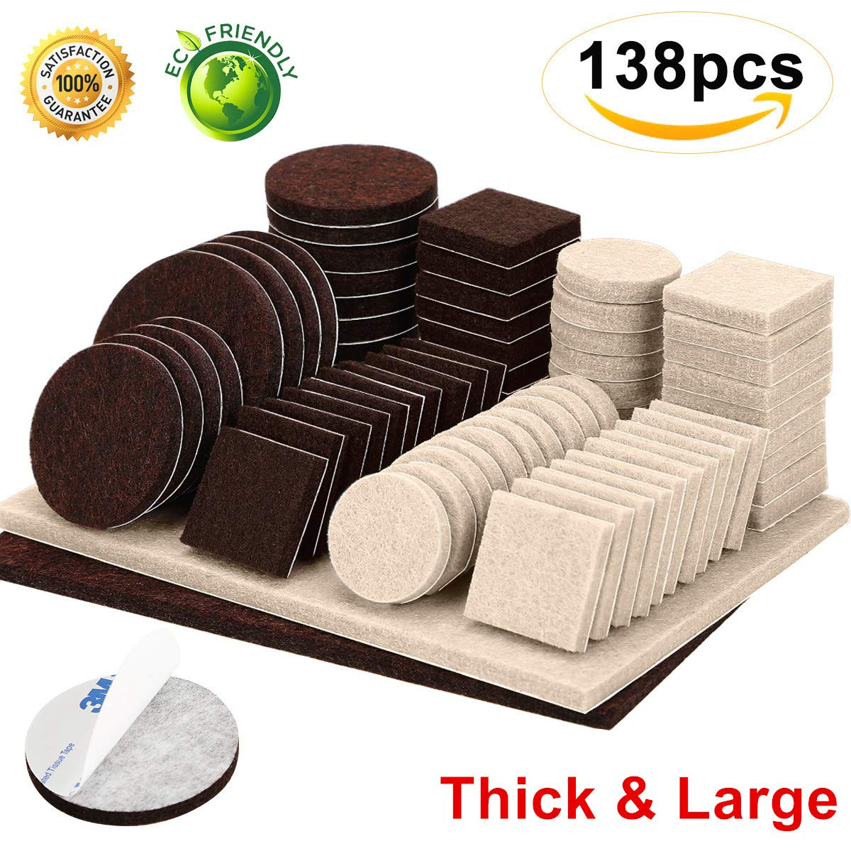 Furniture Pads 138 Pieces Two Colors Pack Felt Furniture Pads Self Stick Anti Scratch Felt Chair Pads Brown and Beige Floors Protector for Hardwood Wood Floor