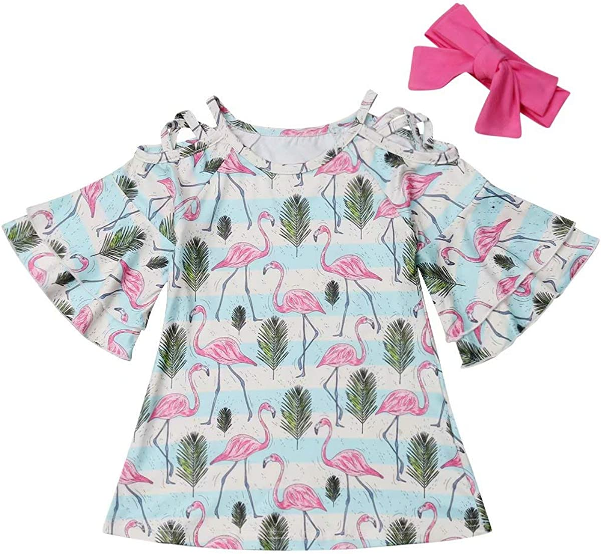 Kids Toddler Baby Girls 2Pcs Outfit Flamingo Flare Sleeve Off Shoulder Dresses Headband Clothes Set