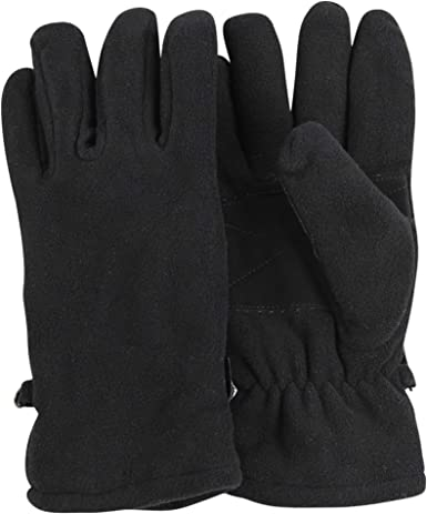 WOMENS LADIES BLACK THINSULATE THERMAL FLEECE GLOVES