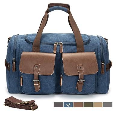 dc9f54eee6bb WULFUL Canvas Leather Duffel Bag Oversized Travel Luggage Bag Shoulder  Handbag Weekend Bag  Amazon.co.uk  Clothing