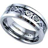 Mens Silver Celtic Dragon Inlay TUNGSTEN Carbide Comfort Fit Wedding Engagement Jewelry Band Ring ( Available in Most Sizes )