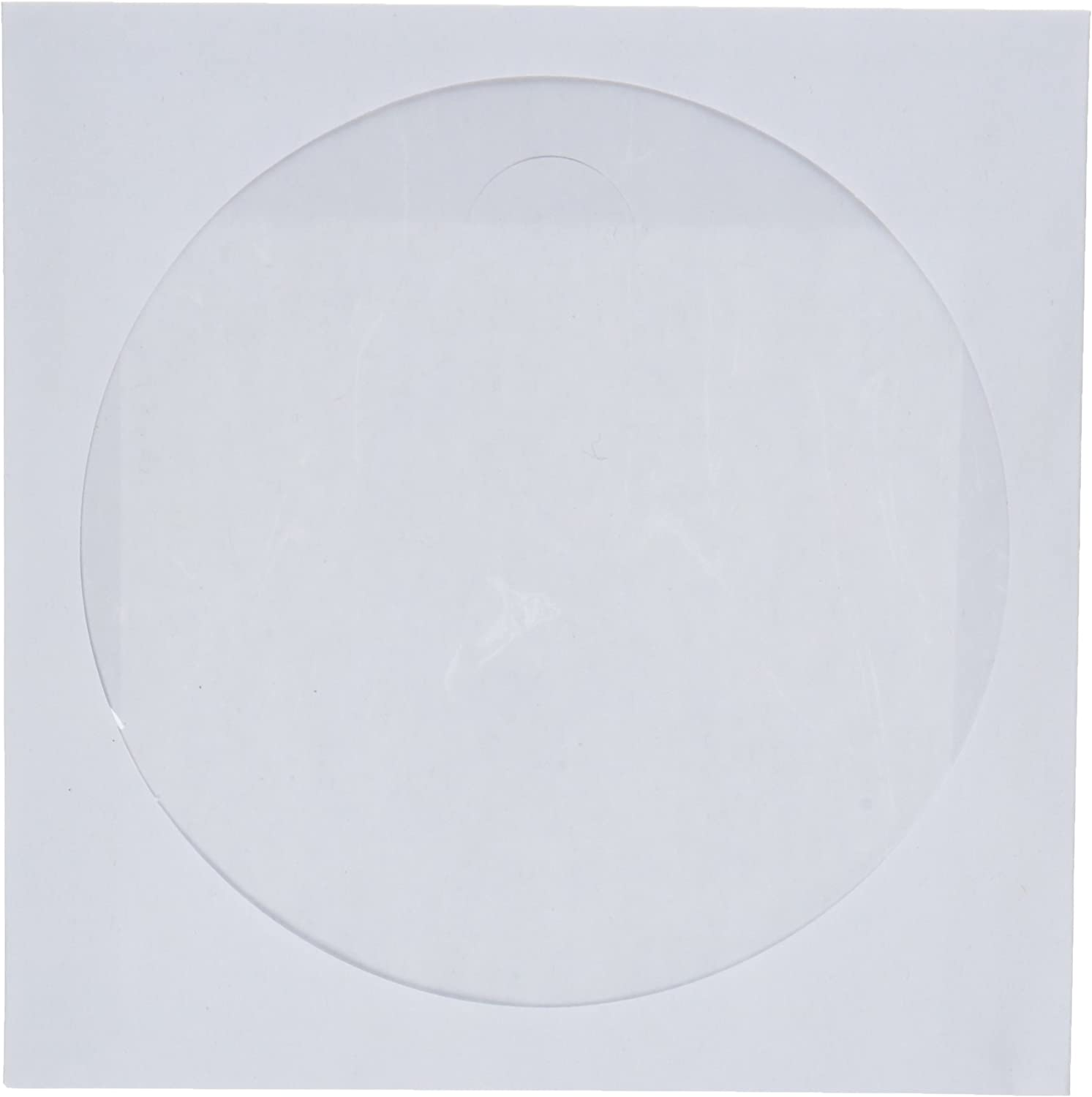 250 Pack CD//DVD White Paper Sleeves with Clear Window