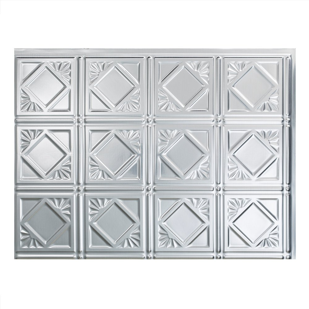 Fasade Easy Installation Traditional 4 Brushed Aluminum Backsplash Panel for Kitchen and Bathrooms (18 sq ft Kit) by Fasade