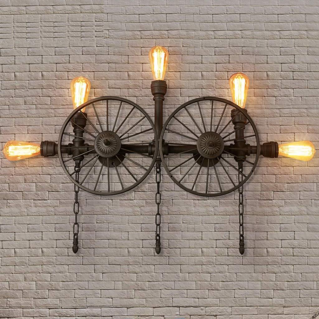 SMMRB 産業風の壁掛けランプレトロカフェ通路照明バー錬鉄製のホイール水壁ランプ66 * 55センチ 壁面ライト (サイズ さいず : 96×65cm) B07R12TGGT  96×65cm