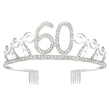 greestore 60th cumpleaños Tiara Corona Cristal Rhinestone Tiara con peine de pelo plateado