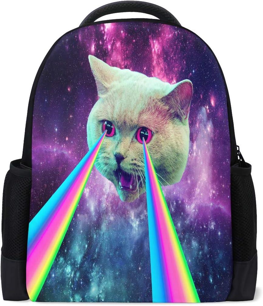 ALAZA Cat Galaxy Laser Casual Backpack Waterproof Travel Daypack School Bag